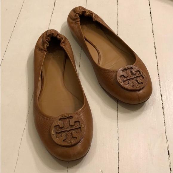 eca89516eb4c66 Tory Burch Reva Tan Leather Ballet Flat Size 13. M 5ad24a825521bece9ced18d4